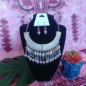 Boho Tribal Dangle Bib Necklace Earrings Set